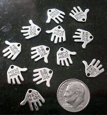 12 Silver plated hand made jewelry signature tags earring charms pendants cfp038
