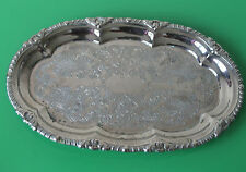 Vintage Metal Oval Etched Serving Tray 22cm c.1960