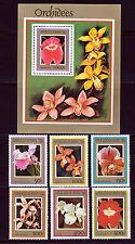 BENIN 1999 FLOWERS ORCHIDS SET SCOTT 1127-32 + 1133 SOUVENIR SHEET