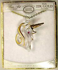 "Glass Baron JP 551 18""   Gold Unicorn Pendant with Crystal  22K Gold NWT"