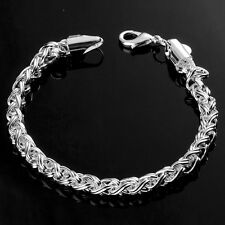 "Fashion 925 Sterling Silver Plated Charm ""Serial Buckle"" Chain Bracelet Bangle"