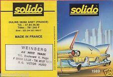 MINI CATALOGUE SOLIDO 1989 PRESTIGE AGE D'OR HI FI MILITAIRE POMPIER HELICOPTERE