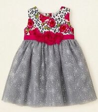 NWT Children's Place Leopard Rose Silver Tulle Special Occ. Party Dress 18-24 Mo