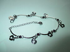 UK Jewellery 12 Pieces of Curved Chain Silver Charm  Anklets / Ankle Bracelets