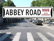 Abbey Road NW8 City of Westminster Street Sign White Background Black Text UK