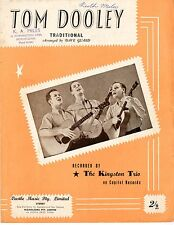 THE KINGSTON TRIO - TOM DOOLEY - 50's Original Sheet Music Australia
