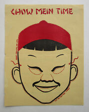Vtg 1940s Mid Century Poster Chow Mein Time Asian Oriental Boy Head Face Mask