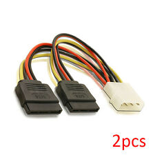"2pcs 6"" Inch (16cm) 4-pin Molex to Dual 15-pin SATA Power Cable Adapter"