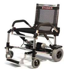Zinger Lightweight Folding Electric Wheelchair - Grey/Silver with armrests