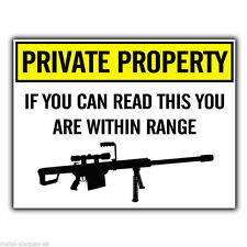 METAL SIGN WALL PLAQUE PRIVATE PROPERTY SNIPER GUN WARNING humorous funny poster