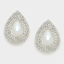 "1.50"" silver teardrop large faux pearl clip on earrings non pierced bridal prom"