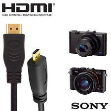 Sony RX1, RX100M2 & RX100 Camera HDMI Micro TV Monitor 2m Wire Lead Cable