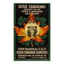 WW1 RECRUITING POSTER IRISH CANADIANS NEW A4 PRINT IRELAND CANADA