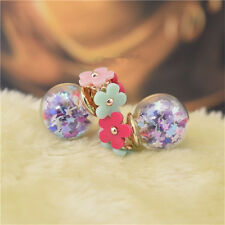 Cute Candy Color Double Side Round Flower Earing Glass Crystal Ball Ear Studs