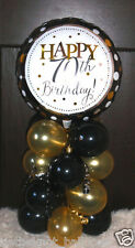 "18"" FOIL BALLOON  TABLE DECORATION DISPLAY HAPPY 70TH BIRTHDAY GOLD & BLACK 70"