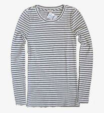 J Crew Factory - XXL - NWT - Gray/Ivory Striped Ribbed Thermal Top - Crew Tee