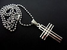"A STAINLESS STEEL CROSS NECKLACE ON 20"" BALL CHAIN. NEW."