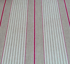 Oilcloth Table Cloth Linen Fabric French Red Harbour Stripe