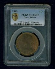 GREAT BRITAIN VICTORIA 1889 PENNY, GEM UNCIRCULATED, CERTIFIED PCGS MS65-BN