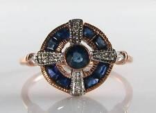 Lovely 9ct 9k Rose Oro Blu Zaffiro Diamante Anello Art Deco INS libero Ridimensiona