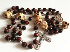 Tiger Eye Bead & oxe Bone Skull Rosary CRUCIFIX CATHOLIC NECKLACE ITALY CROSS