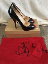 Christian Louboutin Titi 120 Black Red Calf Peep Toe Heels Uk 5.5 Eu 38.5