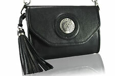 Black leather handbag clutch purse with silver woven chain Shoulder Bag lion