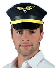 MENS LADIES ADULT AIRPLANE CAPTAIN PILOT BLACK FANCY DRESS COSTUME HAT CAP NEW