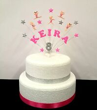 gymnastics / gym birthday  cake topper, personalised with any name and age