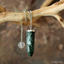 Seraphinite Pendulum Angel Connections .925 Sterling Silver Dowsing Divination