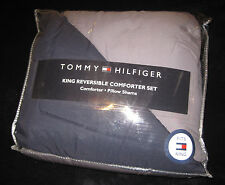 KING - Tommy Hilfiger - Gray and Navy REVERSIBLE COMFORTER & SHAM  SET