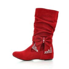 Winter Fashion Womens Wedge Heel Mid-Calf Bowknot Boots Slouch Shoes Plus Size