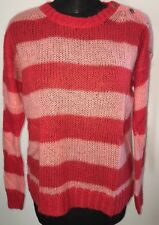 Women's Whistles Jumper. Red Pink Stripe Mohair Wool. Size 8.