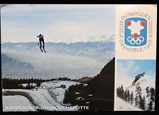 1968 France Philatelique Correspondence Olympic Canceled Stamp and Postcard