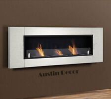New Wall Mounted Triple Burner Bio Ethanol Fireplace W/ Tempered Safety Glass
