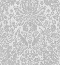 Wallpaper Gray Large Damask on Silver Gray Background