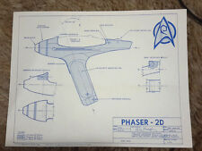 "Vintage Star Trek Phaser 2D Blueprint Set of 4 Sheets 11"" x 8.5"" (M5676)"