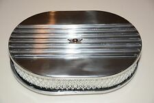"""12"""" Polished Aluminum Nostalgia Half Finned Oval Air Cleaner street rod filter"""