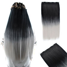 26'' Long Straight Black Gray Ombre Full Head Clip In Hair Extensions Hairpiece