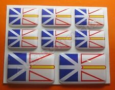 8 x 3D Stickers Resin Domed Flag Newfoundland and Labrador - Adhesive Decal