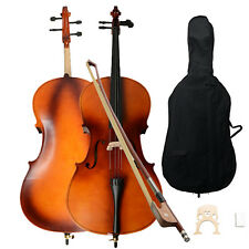 New 4/4 School Student Beginner Wood Color Basswood Cello w/Bag Bow Rosin B