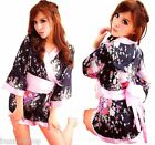 Weicher JAPAN Kimono Morgenmantel Rosa Schleife + String Geisha Cosplay ca 34-38