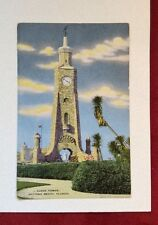 Unposted Linen Postcard for Daytona Beach, Clock Tower Florida Unused