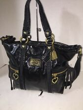Coach Poppy Daisy Liquid Gloss Patent Leather Pocket Tote Bag Black