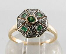 LOVELY 9CT 9K GOLD COLOMBIAN EMERALD & DIAMOND ART DECO INS RING FREE RESIZE