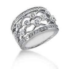 0.75ct Carat 14K WHITE SOLID GOLD Excellent DIAMOND FANCY Ring / Wedding Band