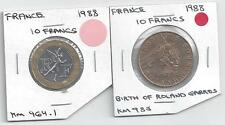 2 DIFFERENT 10 FRANC COINS.FRANCE.BOTH 1988.2 TYPES.BI-METAL KM 964.1 & KM 985