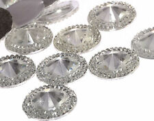 50pcs 20mm CLEAR Flat Back Pointed Diamond Round Diamante Rhinestone Resin Gems