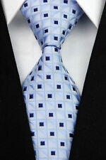PRICED TO CLEAR!! Mens Classic Square Checks Silk Necktie Tie Light Blue Black