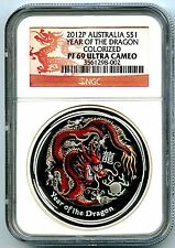 2012 P AUSTRALIA 1 OZ YEAR OF THE DRAGON SILVER NGC PF69 LUNAR COLORIZED PROOF